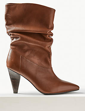 Leather Smart Point Slouch Boots