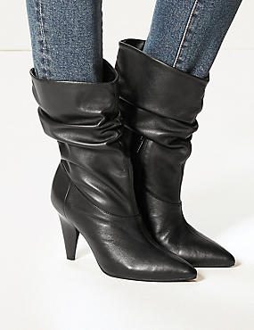 Leather Side Zip Mid Calf Boots