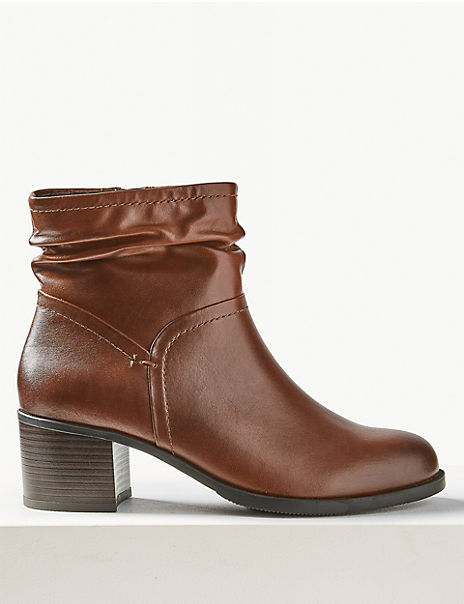 Leather Ruched Jeans Boots