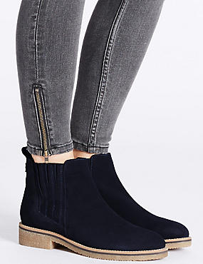 Leather Block Heel Crepe Sole Ankle Boots