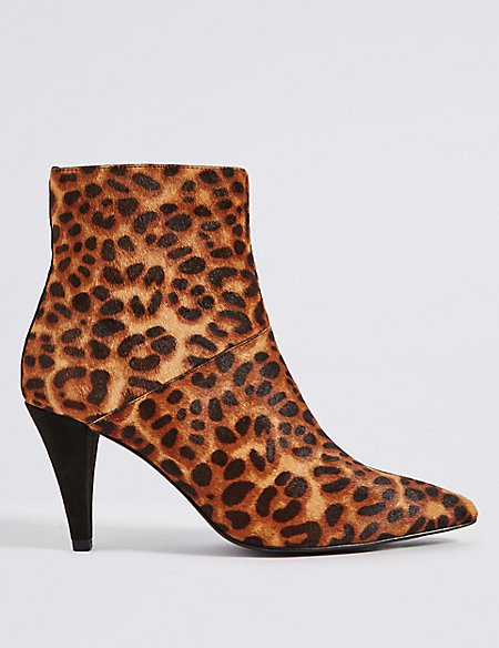 Leather Stiletto Heel Point Toe Ankle Boots