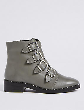 Leather Block Heel Multi Buckle Ankle Boots