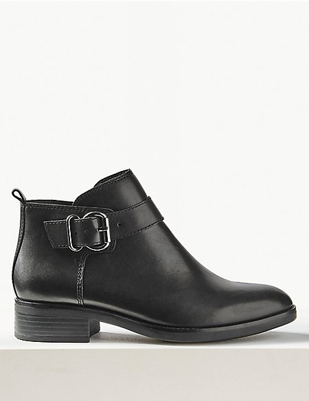 Leather Buckle Detail Ankle Boots