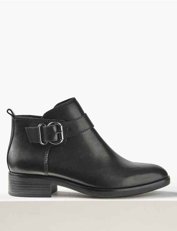 23bddbc50e Leather Buckle Detail Ankle Boots