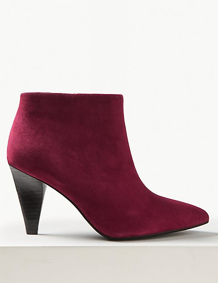 Suede Side Zip Smart Point Ankle Boots