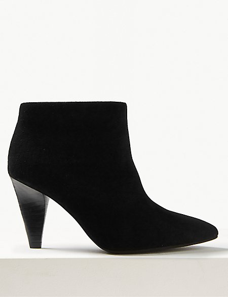 Leather Side Zip Smart Point Ankle Boots