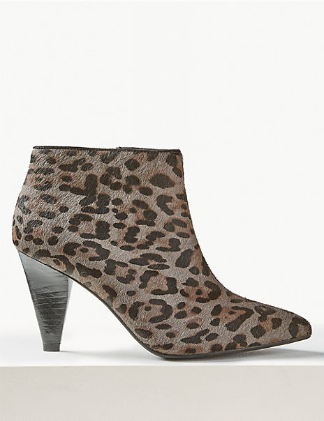 Textured Animal Print Ankle Boots