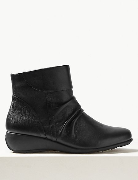 Leather Wedge Heel Ankle Boots