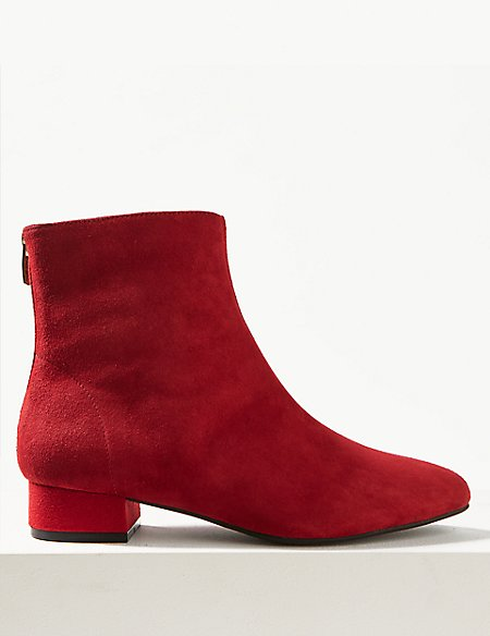 Suede Point Ankle Boots