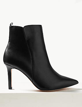 Leather Stiletto Heel Ankle Boots