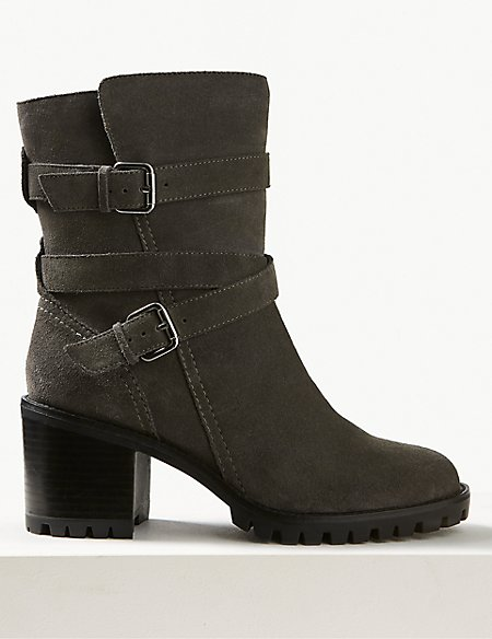Leather Double Buckle Block Heel Ankle Boots