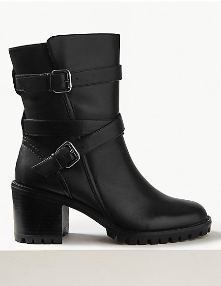 Leather Block Heel Double Strap Ankle Boots