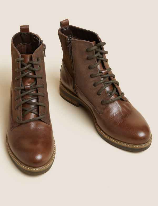 9cf675e86553 Leather Panel Lace-up Ankle Boots