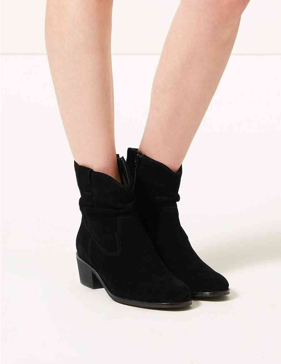 029cd6fdaff2 Suede Slouch Western Ankle Boots