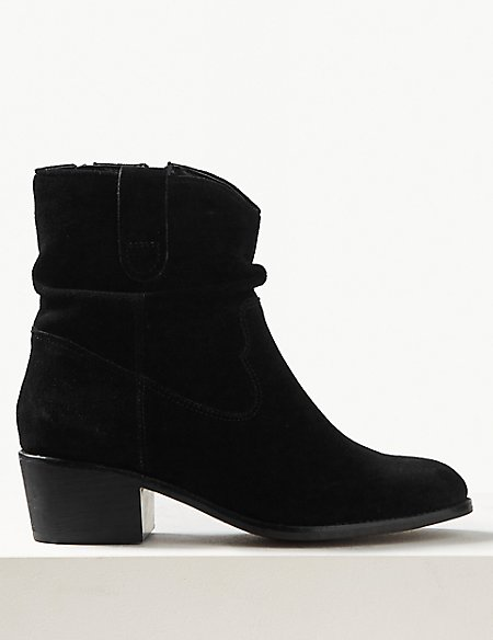 Suede Slouch Western Ankle Boots