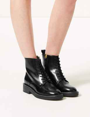 Lace-up Stitch Detail Ankle Boots