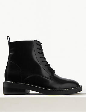 Leather Block Heel Lace-up Ankle Boots
