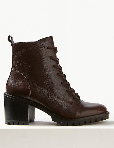 Leather Cleated Sole Lace-upl Ankle Boots