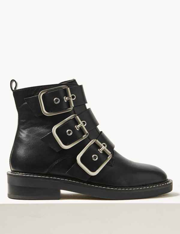 64550976665cc Leather Buckle Detail Ankle Boots