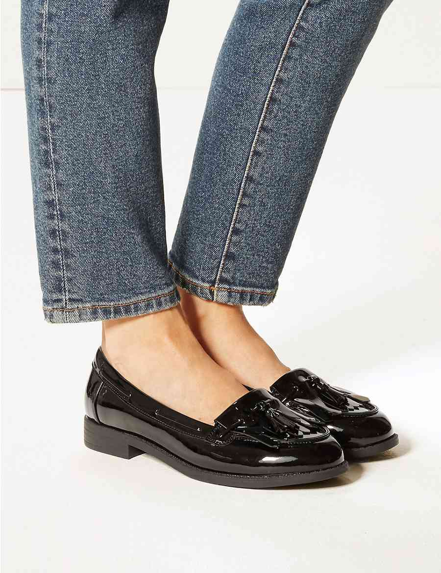a3481921bf3 Wide Fit Patent Tassel Loafers