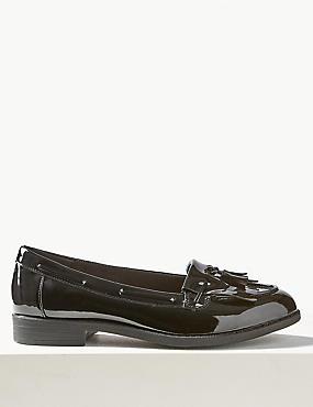 Wide Fit Block Heel Tassel Loafers