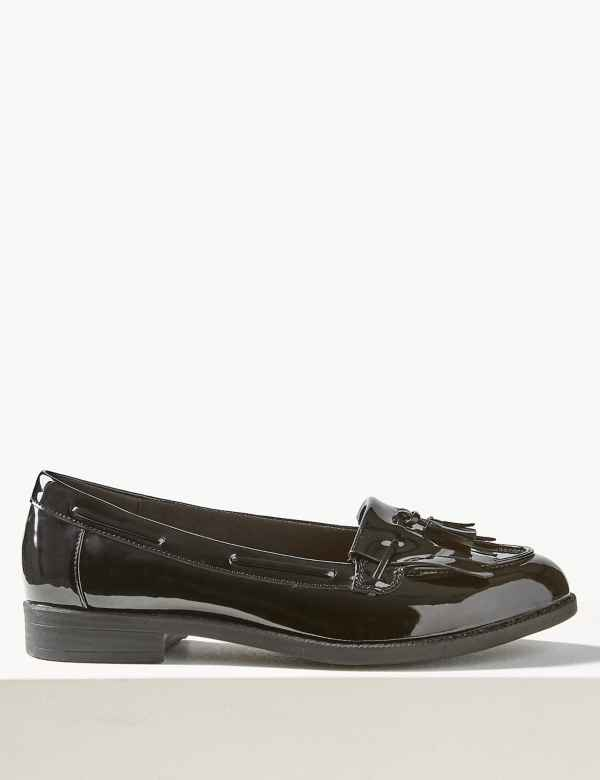 9fe3c331afe Wide Fit Patent Tassel Loafers