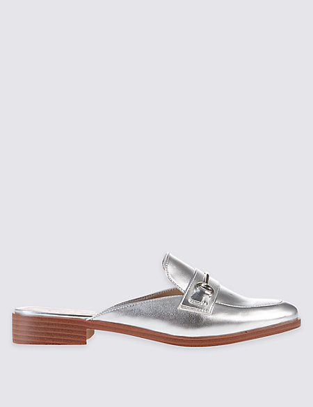 Block Heel Trimmed Mule Shoes