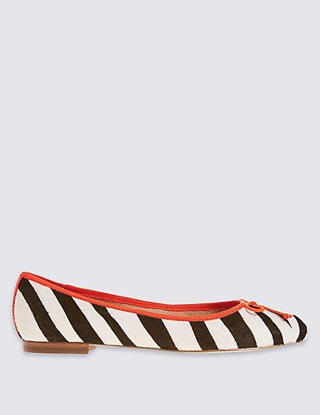 Leather Zebra Print Pump Shoes