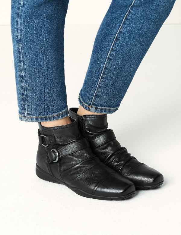 1c24ee0f1527 Leather Ruched Ankle Boots. Online Only