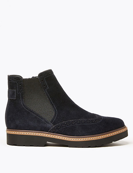 Suede Brogue Chelsea Ankle Boots