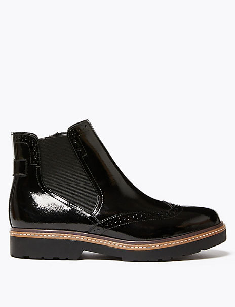 Leather Brogue Chelsea Boots