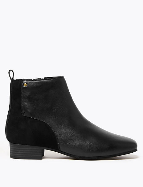 Leather & Suede Square Toe Ankle Boots
