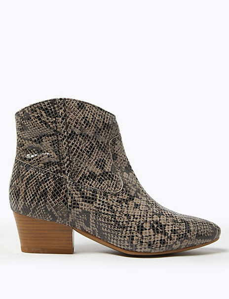 Leather Block Heel Western Ankle Boots