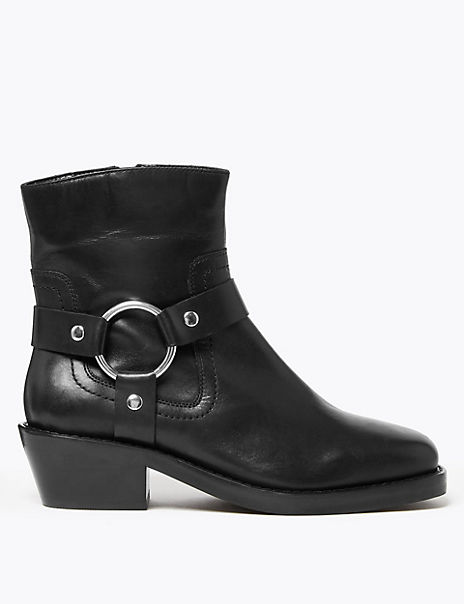 Leather Stirrup Ankle Boots