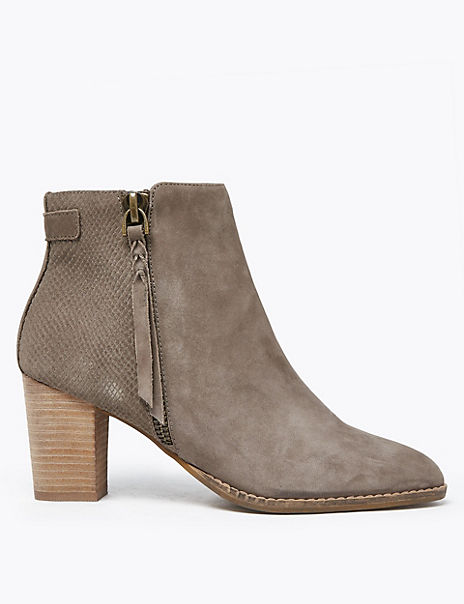 Suede Snakeskin Print Ankle Boots