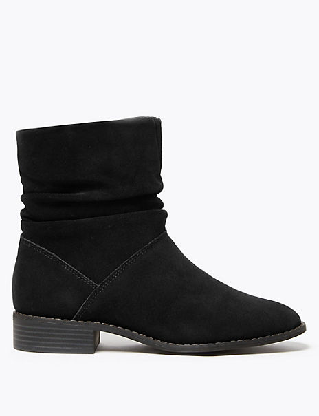 Suede Slouchy Ankle Boots