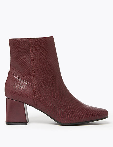 Leather Snakeskin Print Ankle Boots