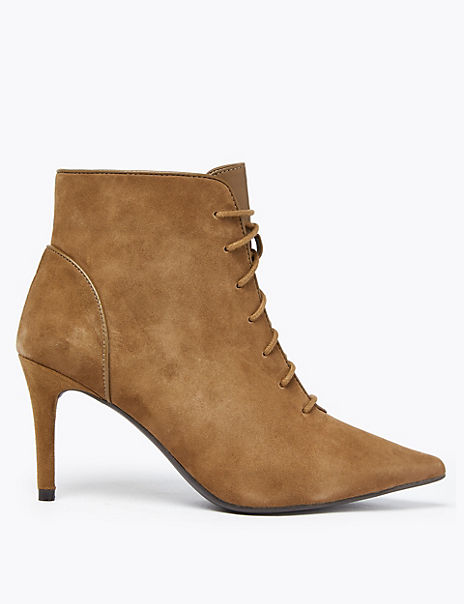 Suede Lace Up Stiletto Heel Ankle Boots