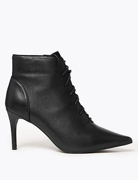 Leather Lace Up Stiletto Heel Ankle Boots