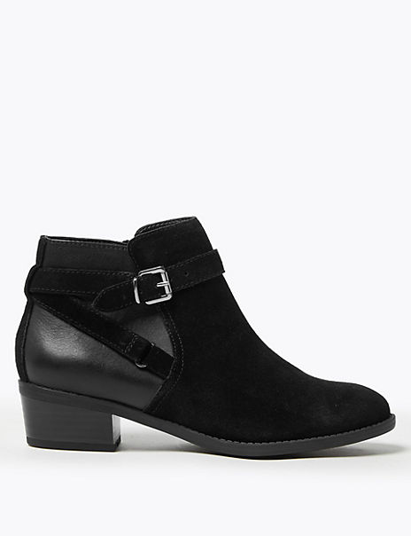 Suede Side Buckle Ankle Boots