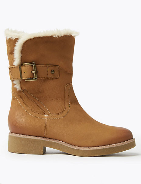 Nubuck Faux Fur Cuff Lined Ankle Boots