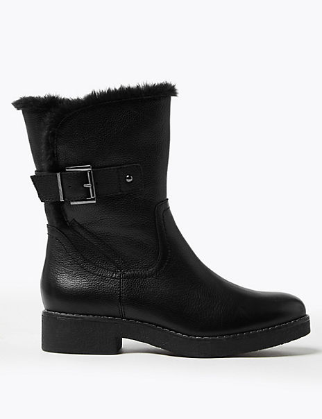 Leather Faux Fur Cuff Ankle Boots