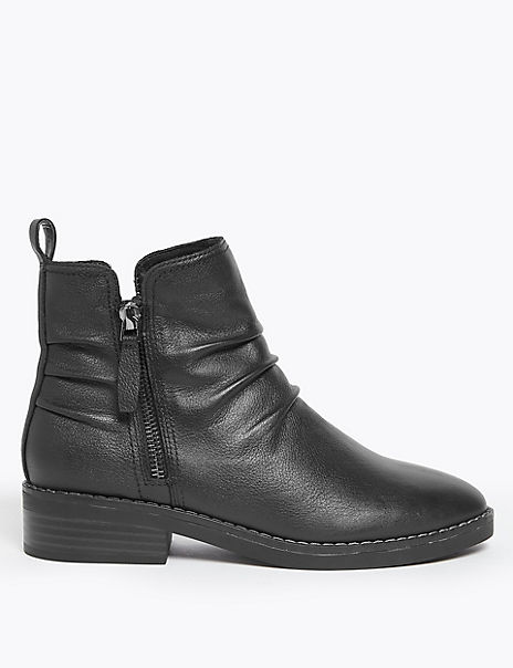 Leather Ruched Zip Ankle Boots