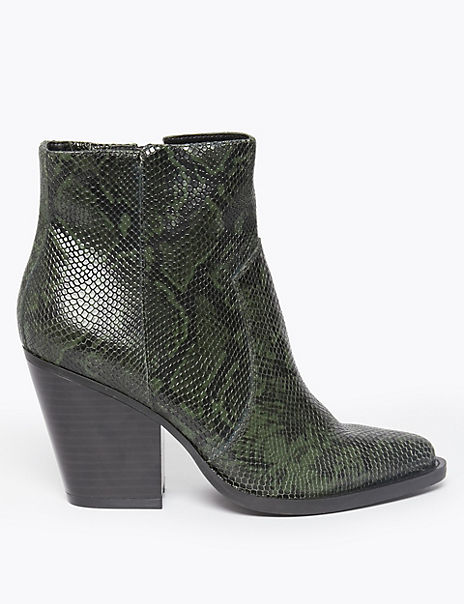 Leather Snakeskin Print Western Ankle Boots