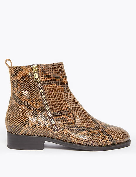 Leather Animal Print Ankle Boots