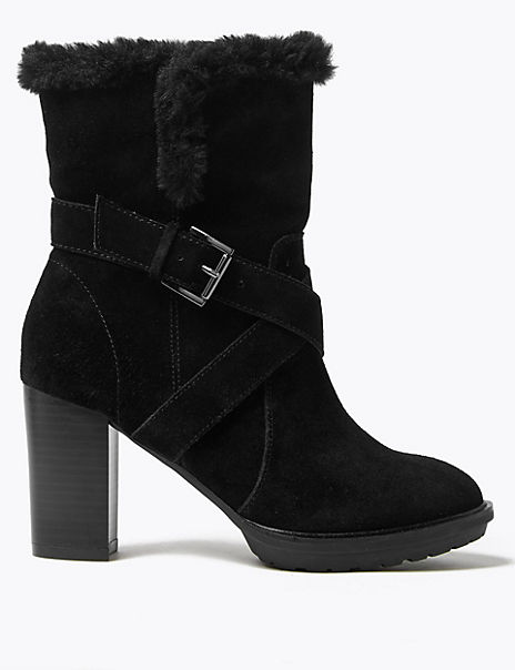 Suede Hiker Block Heel Ankle Boots