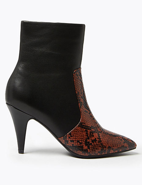 Leather Snakeskin Print Stiletto Ankle Boots