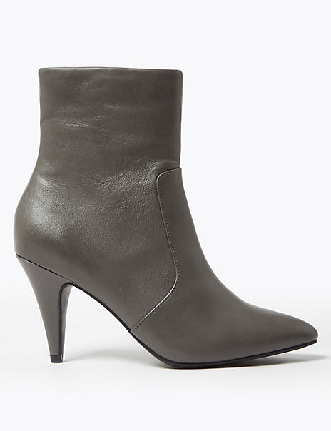 Leather Stiletto Ankle Boots