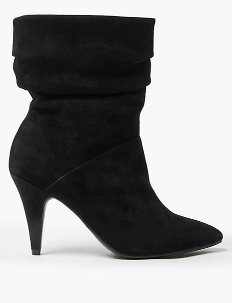 Suede Ruched Pointed Ankle Boots