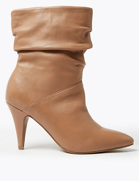 Leather Ruched Pointed Ankle Boots